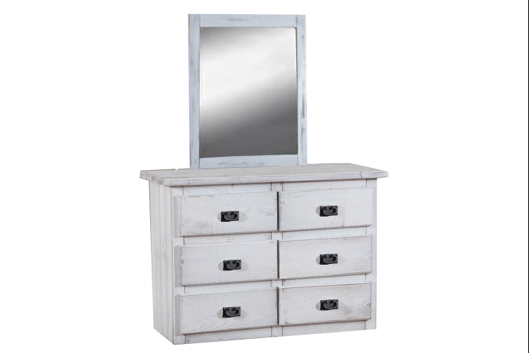 6 Drawer Mini Dresser with Mirror - White Distressed