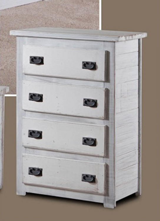 4 Drawer Chest - White Distressed