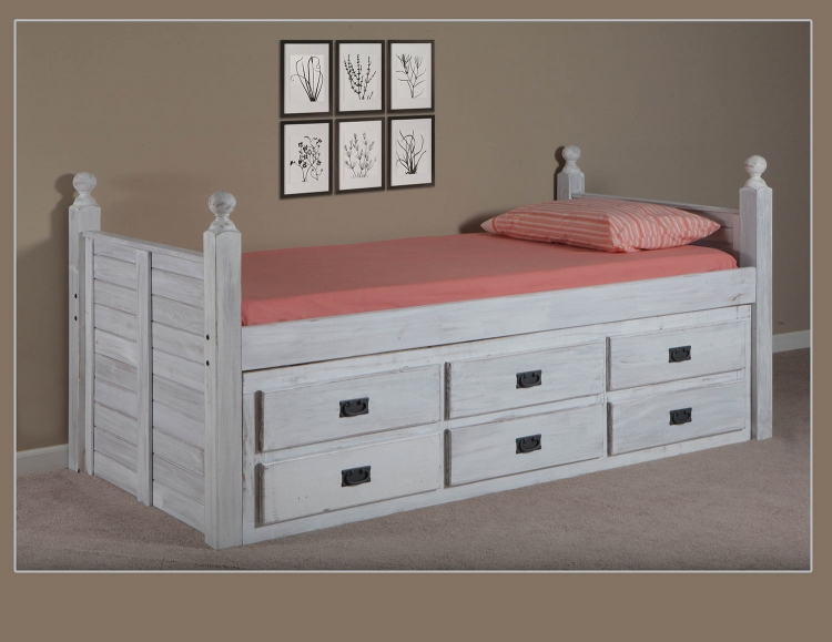 Twin Panel Post Captain Bed with Six Drawer Unit - White Distressed