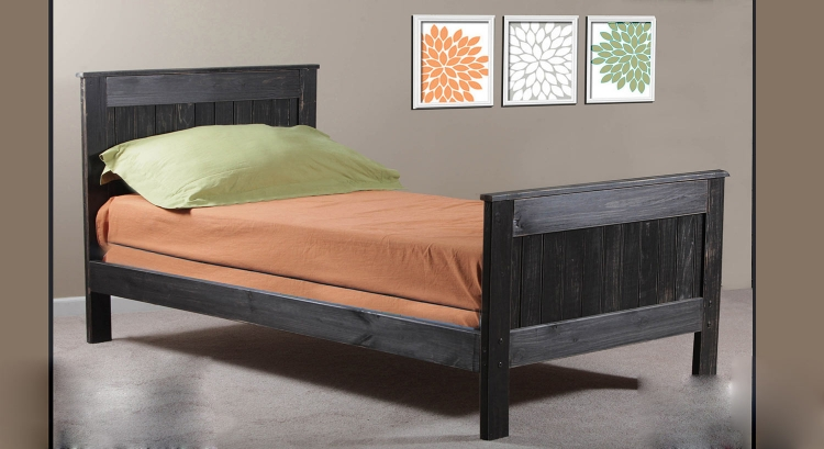 Twin Mates Bed - Black Distressed