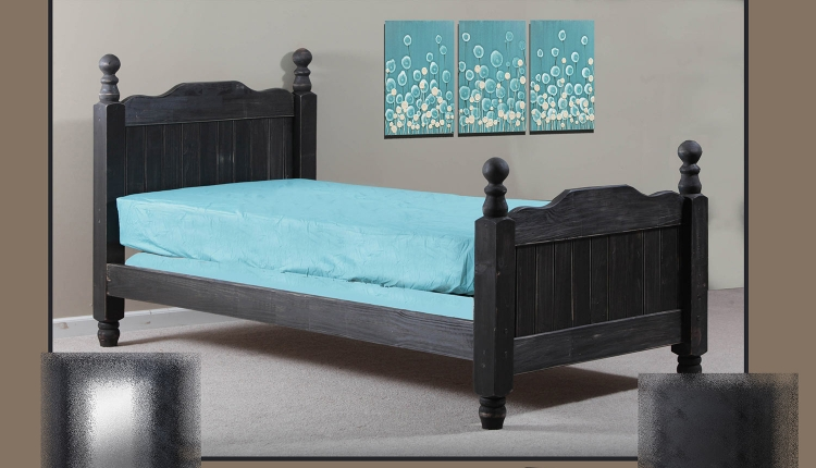 Twin Cannonball Panel Post Bed - Black Distressed