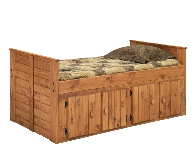 31942-F Twin Bed with 4 Door Storage - Ginger Stain