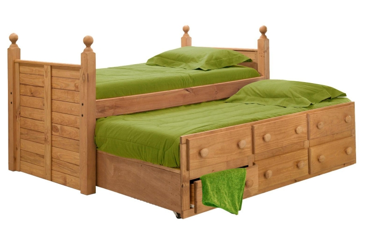 31950-T Twin Panel Post Bed with Twin Trundle Unit - Ginger Stain