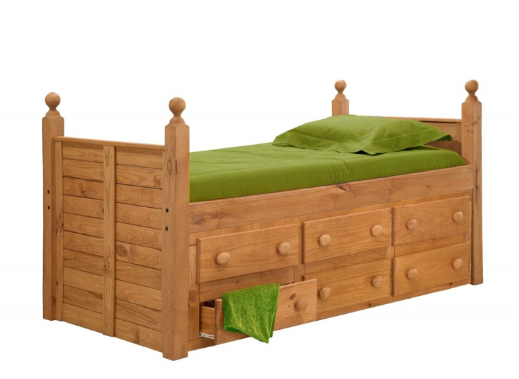 31950 Twin Panel Post Bed with 6 Drawers - Ginger Stain