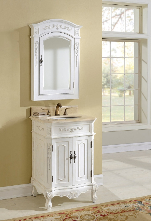 Cambridge 24-inch Vanity With Medicine Cabinet - Antique White