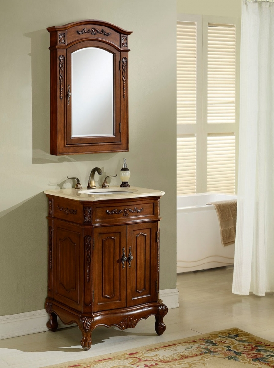 Cambridge 24-inch Vanity With Medicine Cabinet - Teak