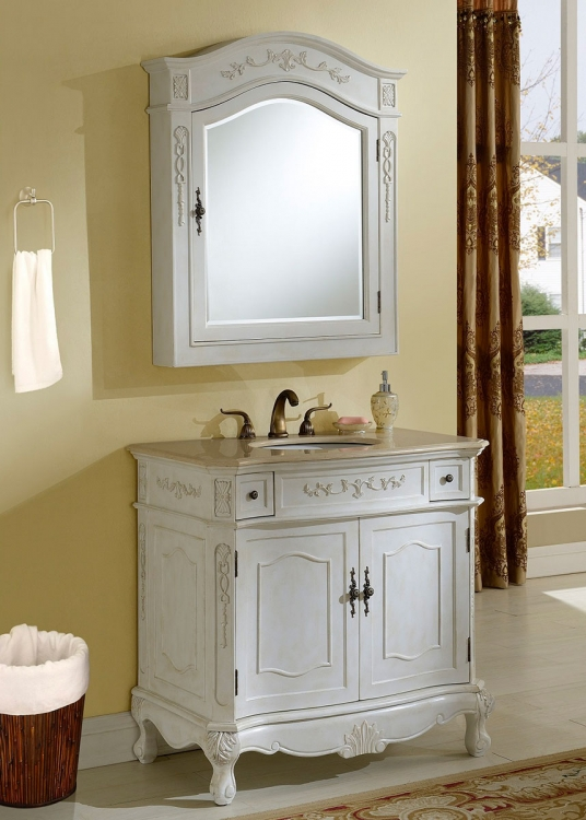 Cambridge 36-inch Vanity With Medicine Cabinet - Antique White