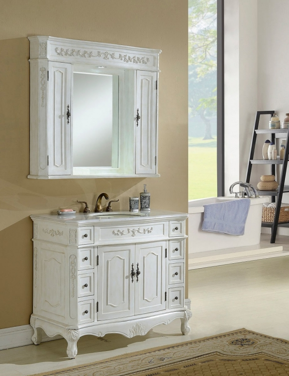 Cambridge 42-inch Vanity With Medicine Cabinet - Antique White