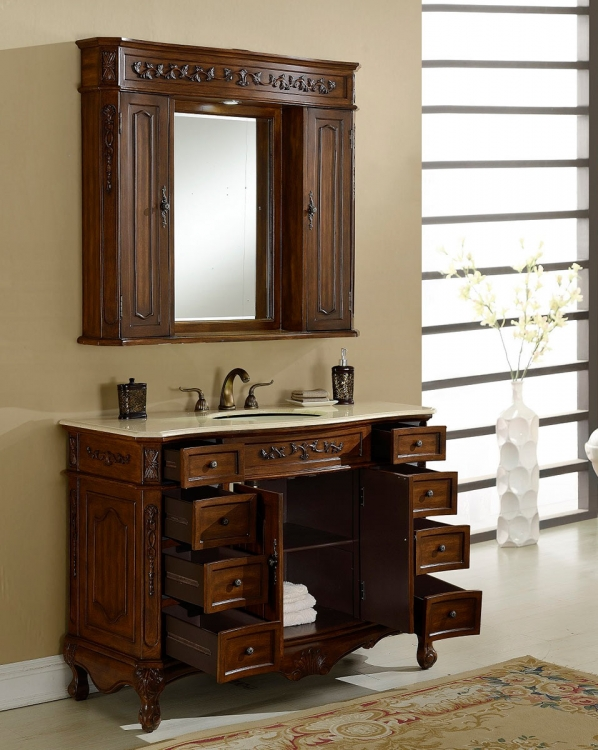 Cambridge 48-inch Vanity With Medicine Cabinet - Teak