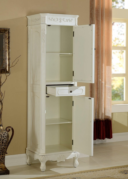 Cambridge Linen Cabinet with Mirror - Antique White