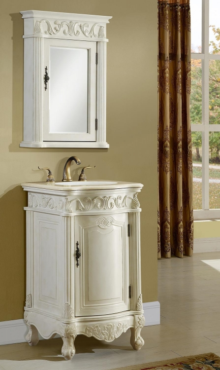 Villa 21-inch Vanity with Medicine Cabinet - Antique White