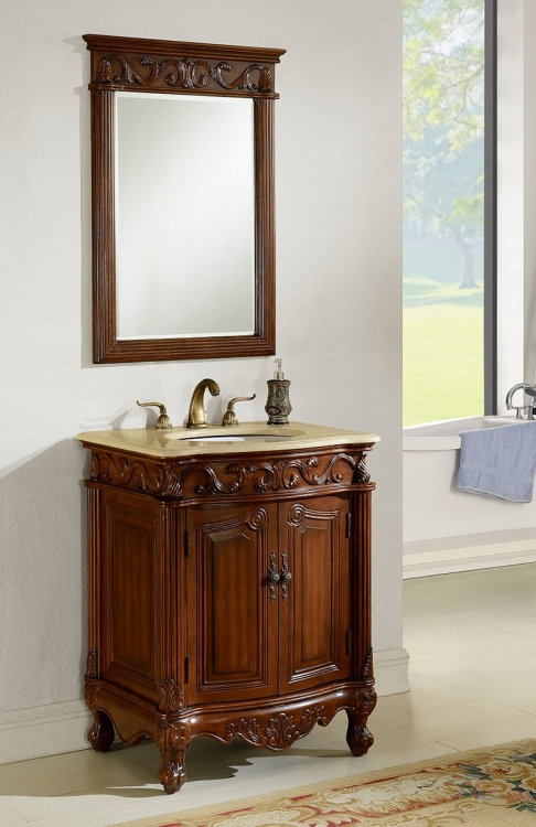 Villa 27-inch Vanity with Mirror - Teak