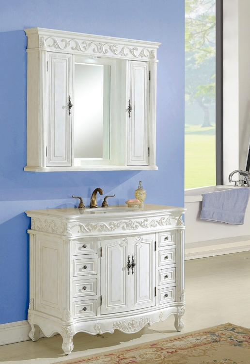 Villa 42-inch Vanity with Medicine Cabinet - Antique White
