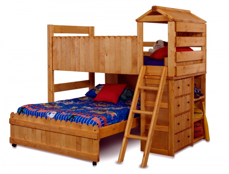 3514269-4268 Twin Over Full Loft Bed with Ladder - Cinnamon