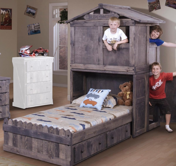 3514275-4276 Twin Bed with Club House and Storage - Driftwood