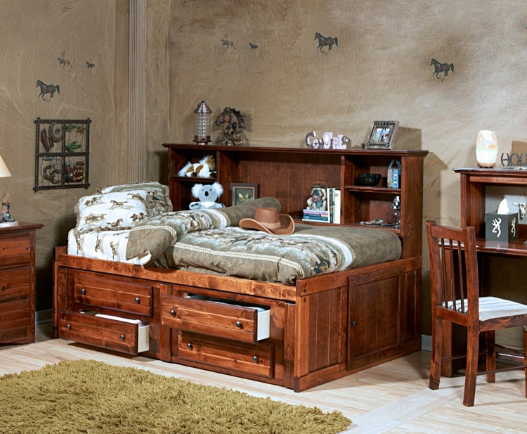 3524457-4458 Twin Mates Bed with Bookcase - Cocoa
