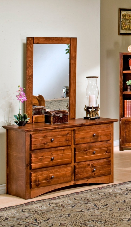 3524470-4480-C 6 Drawer Dresser with Mirror - Cocoa