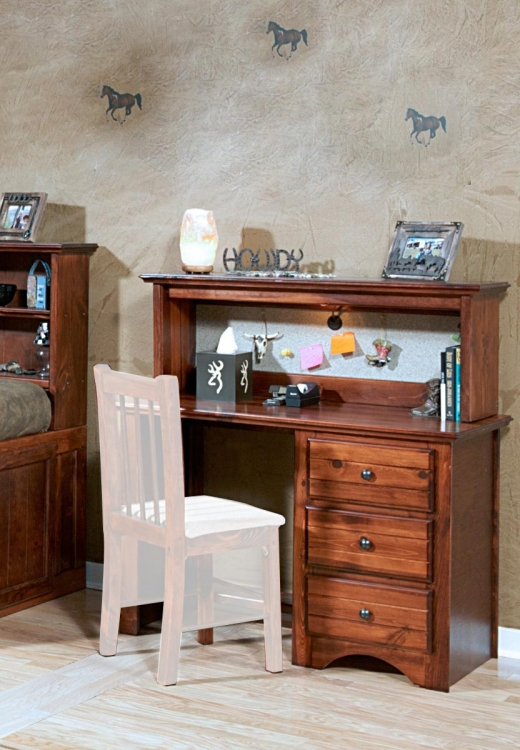 3524477-4482-C 3 Drawer Student Desk with Hutch - Cocoa