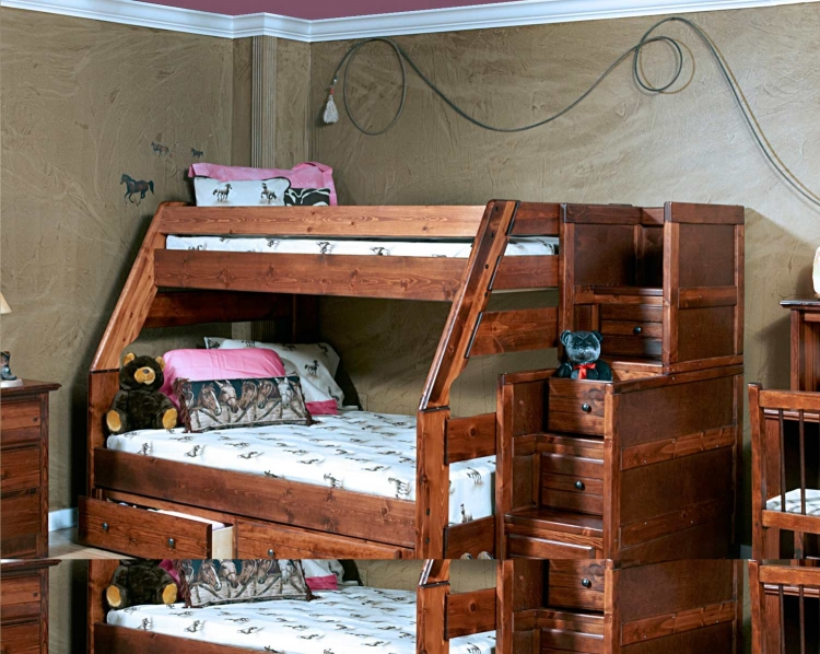 3524720-4453 Twin Over Full Bunk Bed with Stairway Chest - Cocoa