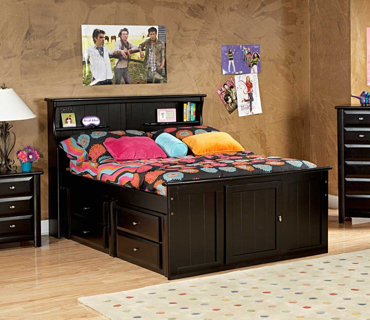 3534505-4509 Full Bed with Bookcase Headboard and Storage - Black Cherry