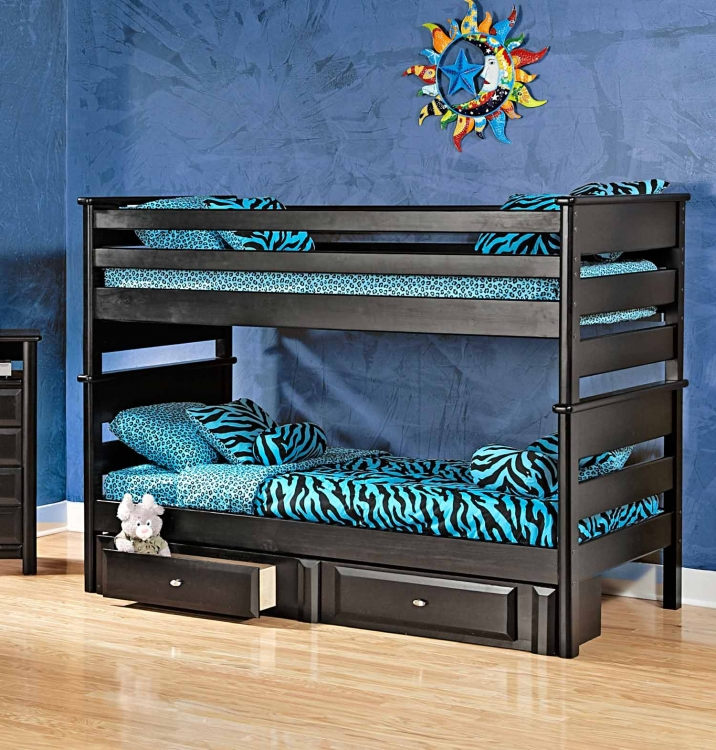 3534520-4521-S Twin Over Twin Bunk Bed with Storage - Black Cherry