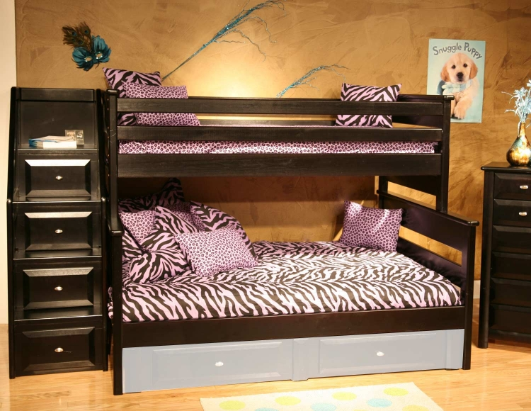 3534522-4526 Twin Over Full Bunk Bed with Stairway Chest - Black Cherry
