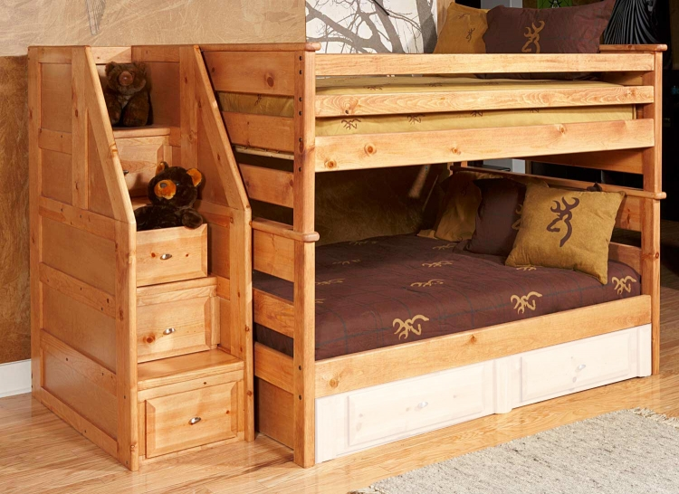 3534524-4526 Full Over Full Bunk Bed with Stairway Chest - Caramel