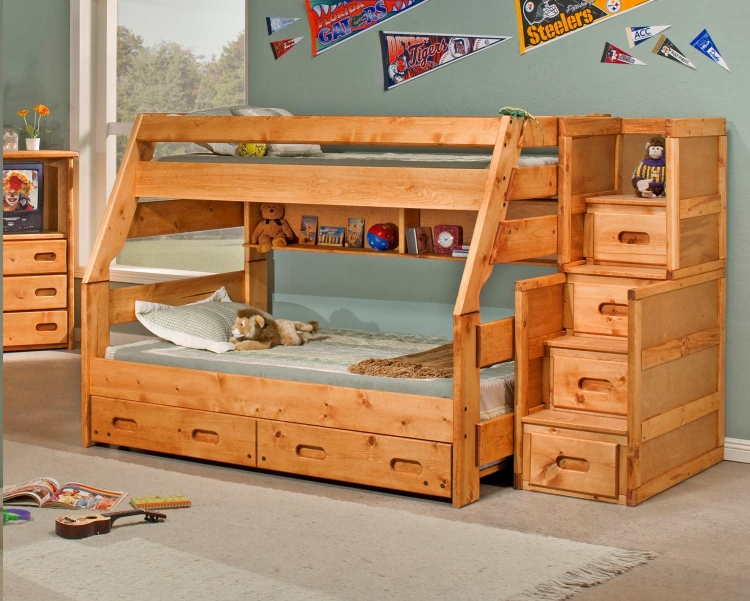 3544720-4754-T Twin Over Full Bunk Bed with Trundle and Stairway Chest - Cinnamon
