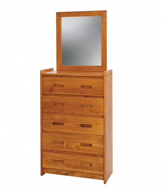 360025-011 5 Drawer Chest with Mirror - Honey