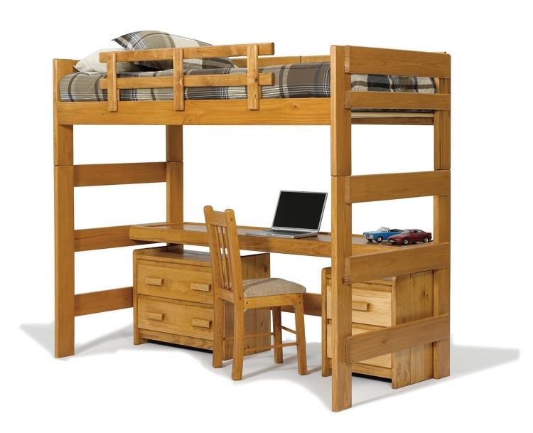 3610009 Loft Bed with Desk Top - Honey