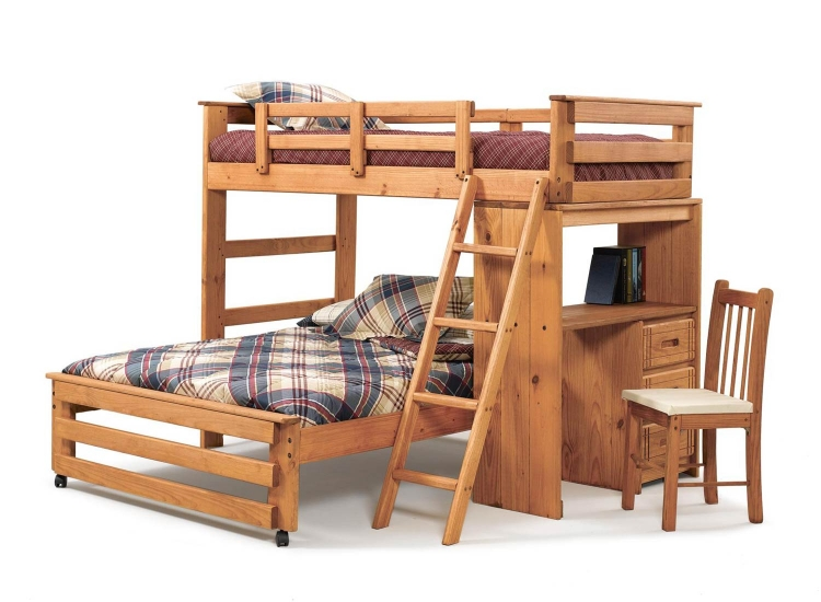36110022 Twin Over Full Loft with Desk End - Honey