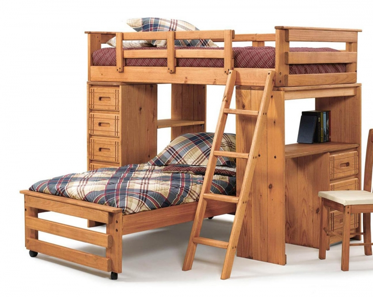 3611504 Twin Over Twin Student Loft with Chest and Desk Ends - Honey