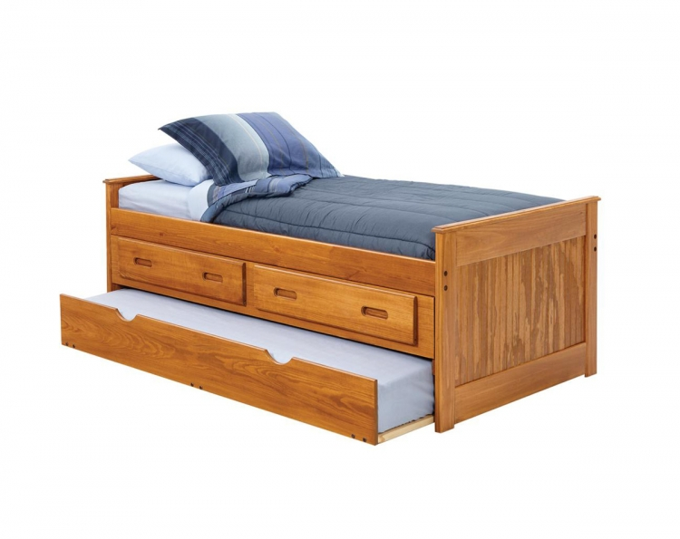 3614401 Twin Captains Bed with Storage and Trundle Unit - Honey