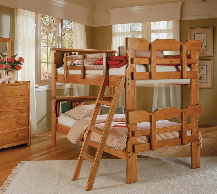 3615001 Twin Over Twin Bookcase Scalloped Bunk Bed - Honey