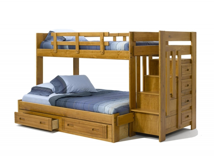 36154W-S Twin Over Full Bunk Bed with Stairway Chest and Underbed Storage - Honey