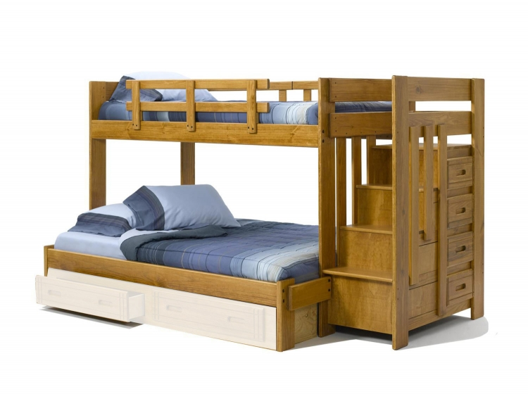 36154W Twin Over Full Bunk Bed with Stairway Chest - Honey