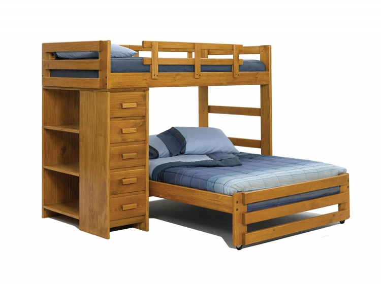 3615501 Twin Over Full Student Loft with Chest and Bookcase - Honey