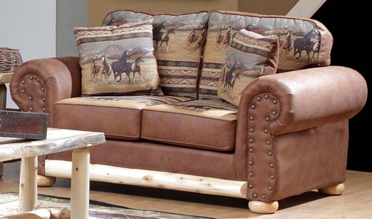 Bonanza Loveseat - Paint/Cochise Saddle - Chelsea