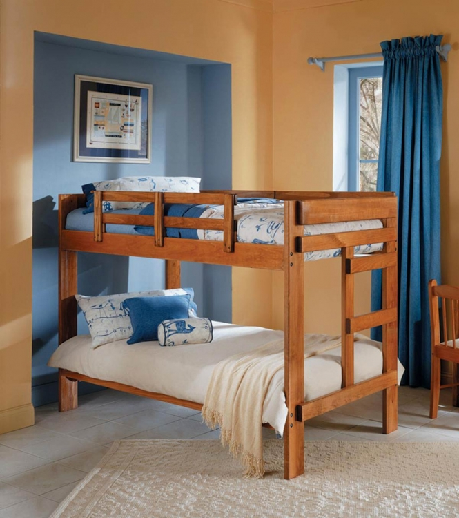 36260010 Twin Over Twin Bunk Bed - Honey