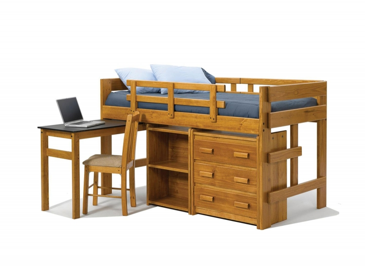3626003 Twin Mini Loft Bed with Pull Out Desk, Bookcase and Storage - Honey
