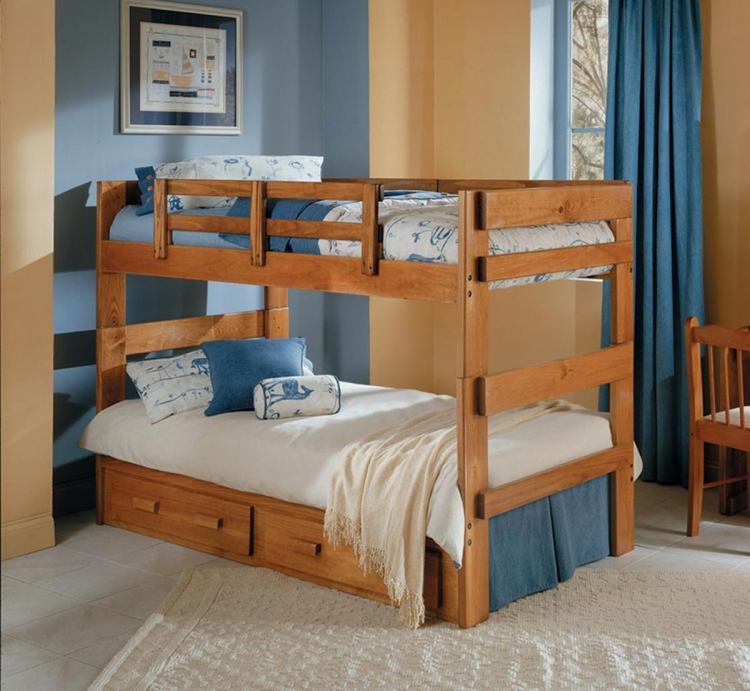 3626021-S Twin Over Twin Split Bunk Bed with Underbed Storage - Honey