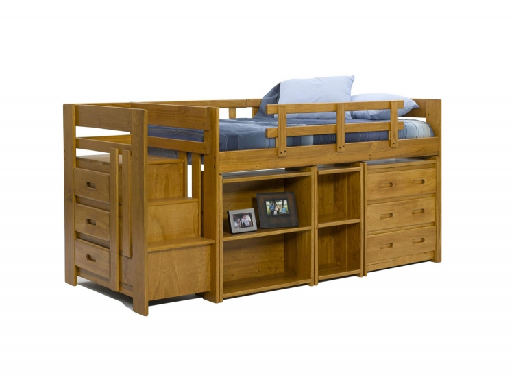 363003 Twin Mini Loft Bed with Storage - Honey