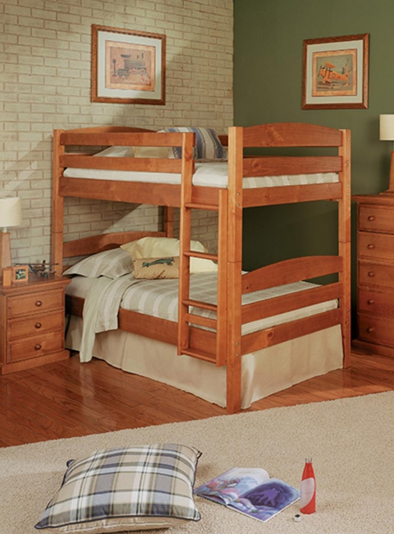 3641005 Twin Over Twin Square Post Bunk Bed - Honey