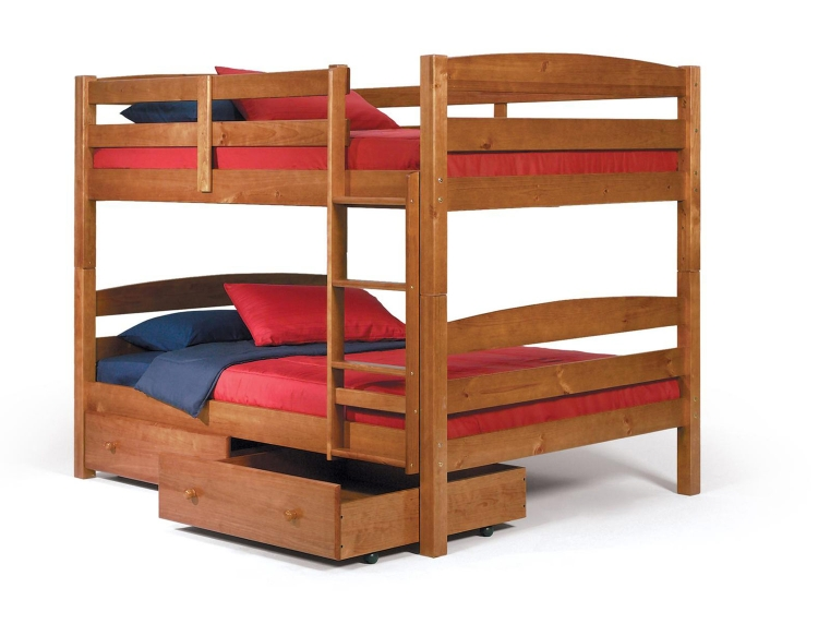 3641540-S Full Over Full Bunk Bed with Underbed Storage - Honey