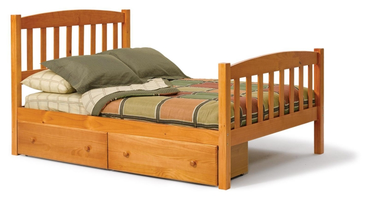 3643460-S Full Mission Bed with Underbed Storage - Honey