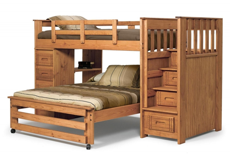 364401 Twin Over Full Stairway Bunk with 4 Drawer End - Honey