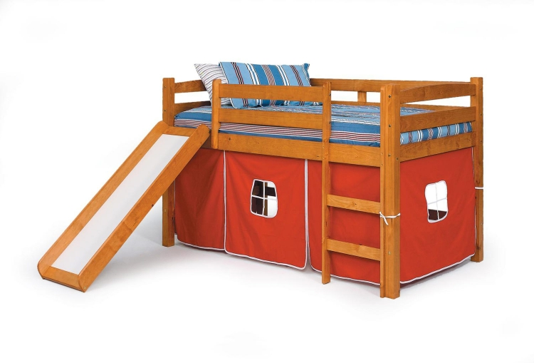 3645000-R Twin Tent Bed with Slide - Honey
