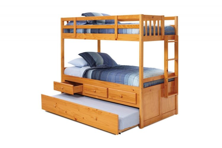 364600 Twin Over Twin Bunk with Trundle and Storage Drawers - Honey