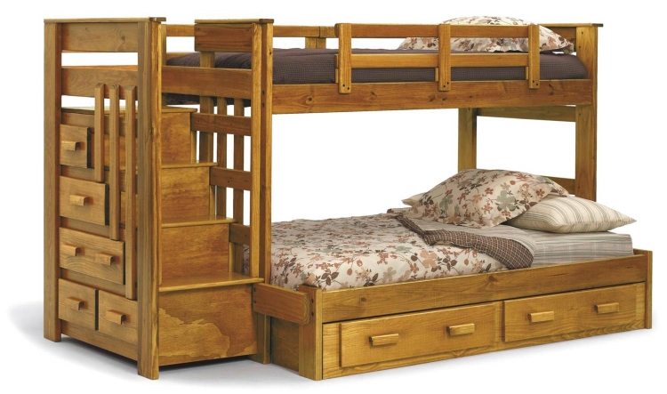 36500-S Twin Over Full Bunk Bed with Stairway Chest and Underbed Storage - Honey