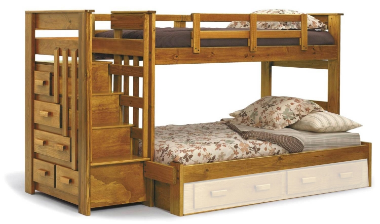36500 Twin Over Full Bunk Bed with Stairway Chest - Honey